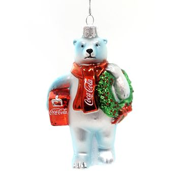 Holiday Ornaments Coke Bear W/ Wreath Glass Ornament