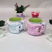 Set 2 mug cozy, cup cozy, pair of mug cozy, mug sweater, mug holder, coffee cozy, tazza cozies, white, pink