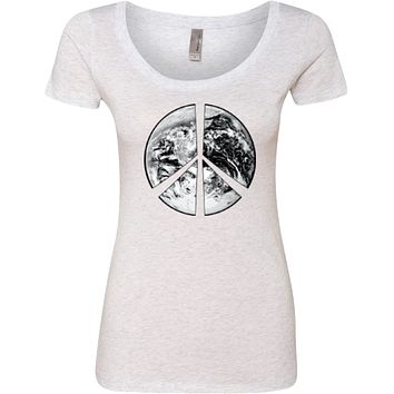 Buy Cool Shirts Ladies Peace T-shirt Earth Satellite Symbol Scoop Neck