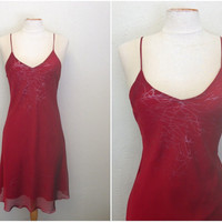 Vintage 1980s Ruby Red Sexy Clubbing Dress with LIGHTNING pattern from Argentina