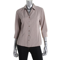 Style & Co. Womens Petites Pintuck 3/4 Sleeves Button-Down Top