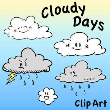Cloud Characters Clip Art, Cloudy Days Clipart, Digital Clouds, Cloudy Sky Art, Storm Cloud, Rain Cloud, Happy Cloud, Classroom Clip Art