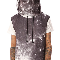 ARSNL The Sleeveless Kino Ninja Hoodie in Greyscale GalaxyMade in the USA