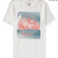 Mens Free State Twilight Trees Graphic T-Shirt - White
