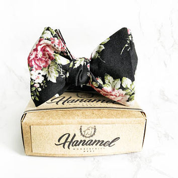Hanamel Handmade Black Floral Self Tie Bow Tie - Japanese Black Flower Self Tie Bow Tie - Wedding Floral Bow Tie - Black Floral Bow Tie
