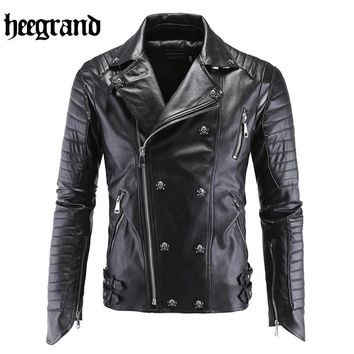 HEE GRAND 2017 New Male Pilot Leather Motorcycle Bomber Jacket Men Fashion PU Suede Outwear Chaqueta De Cuero MWP326