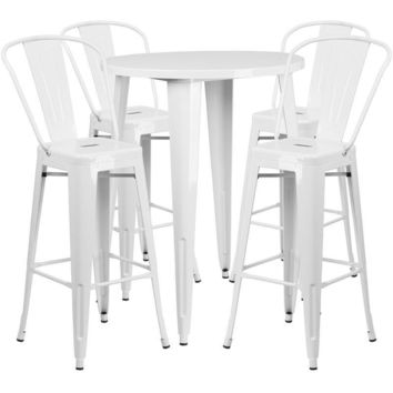 30'' Round Metal Indoor-Outdoor Bar Table Set with 4 Cafe Barstools