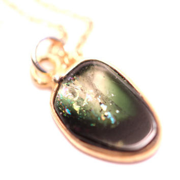 Tourmaline necklace - Stunning gold lined rainbow tourmaline on an 18 inch 14k gold filled chain - SALE