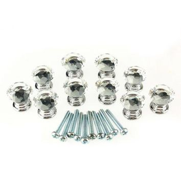 10 Pcs 20mm Crystal Glass Clear Cabinet Knob Drawer Pull Handle Kitchen Door Wardrobe Hardware