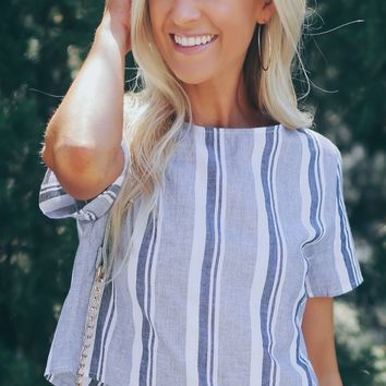 Striped Crop Top Grey