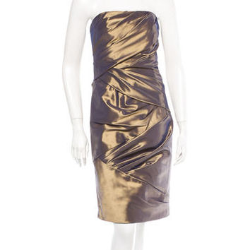 Carmen Marc Valvo Metallic Strapless Dress w/ Tags