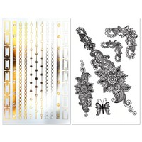 Best and Cheapest Metallic Tattoos For Adults and Kids, 6 MASSIVE Sheets, Temporary Flash Stickers That Make You Look Beautiful, Non-Toxic & Waterproof, Gold, Silver & Black Jewelry, Get Your's!