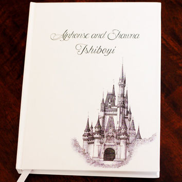 Fairy Tale Guest Book, Fairytale Wedding, Custom Guest Book, Cinderella Guest Book, Personalized Wedding Book, Bound Scrapbook, Journal