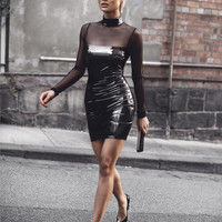Teona Bordo PU Leather Celebrity style dress