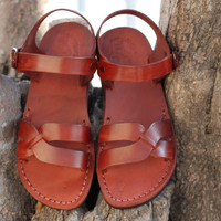 womens comfort leather sandals Jerusalem camel classic brown strapped shoe
