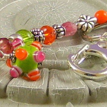 Beaded Keyring with Lime Green, Orange & Pink Beads
