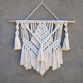 Macrame wall hanging with tassels Boho living room decor Funny gift for her Wall tapestry Gypsy wall decor Handmade housewarming gift idea
