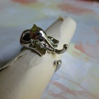 Silver Wrap Elephant Ring 6-7