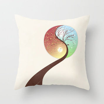 Yin-Yang Tree: Autumn-Spring Throw Pillow by Belle13 | Society6
