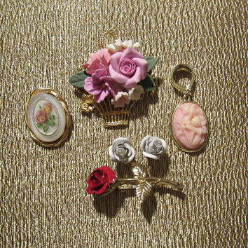 Vtg 60s, 70s, 80s, Rose Jewelry, Rose Pendant, Floral Jewelry, Rose Brooch, Vintage Brooches, Vintage Jewelry Lot