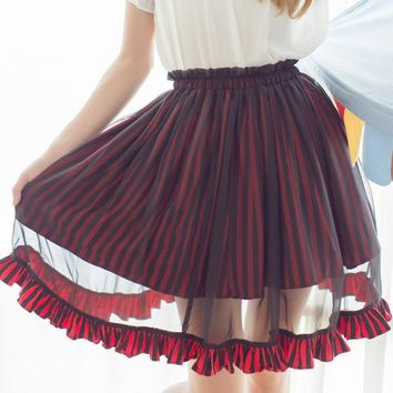 Harajuku Black and White Striped Chiffon Midi Skirt for Women Free Shipping 2 Colors