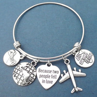 Because two people fee in love, All we need is love, Airplane, The earth, Pinky, Promise, Silver, Bangle, Bracelet, Gift, Jewelry
