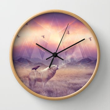 In Search of Solace Wall Clock by Soaring Anchor Designs | Society6