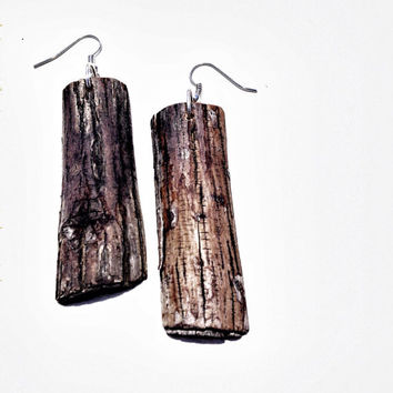 Rustic Log Dangle Earrings