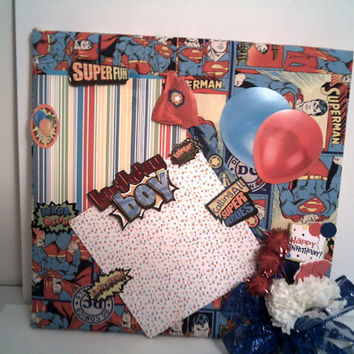 SUPERMAN BIRTHDAY BASH Picture Frame Happy Birthday Gift For Boys Comic Strip Scrapbook Photo Frame Super Hero 3D mixed Media Art Shadowbox