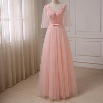 V-neck Princess Prom Dresses Tulle Sleeves Beaded Applique Floor Length Formal Evening Dress