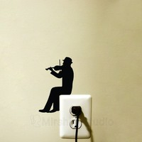 Violinist Light Switch Velvet Decal  - Violin Wall Sticker - Classical music Wall Art - Man Playing Violin Decor - Music Decal - Violin Gift