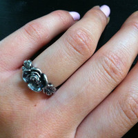 Vintage Inspired Silver Rose Ring Size 6