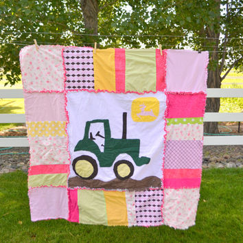 Girl Rag Quilt, Large Pink and Green Tractor, Toddler Bedding, Made to Order