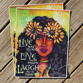 Art Print -Live Love Laugh - Wall Art - Wall Decor 11x14 - Bohemian Art - Hippie Art - Flower Child