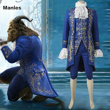 Beauty and the Beast Cosplay Beast Outfit Gentleman Suit Blue Renaissance Custom Made