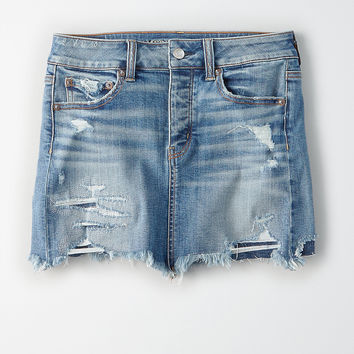 AEO Mended Denim Skirt, Medium Wash