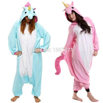 Kigurumis Unicorn Pink Blue Purple Flannel Costume Footie Onesuit Animal Adult Animal Pajamas Cosplay Costumes Women Cheap DHL