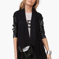 Leather Knit Cardigan