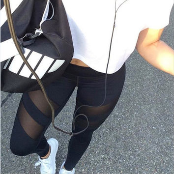 Big yards perspective splicing hollow out fitness leggings