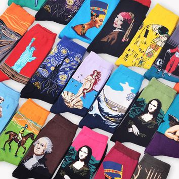 gcl Autumn winter Fashion Retro Women New Personality Art Van Gogh Mural World Famous Painting Series Male Socks Oil mcl Funny Socks Hot