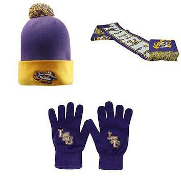Licensed NCAA LSU Tigers Spirit Scarf TOW Knit Glove And Pom Beanie Hat 3 Pack 04305 KO_19_1