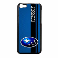 Subaru WRX logo on a field of simulated Blue Carbon Fiber with Black Stripe iPhone 5c Case