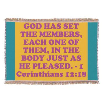 Bible verse from 1 Corinthians 12:18. Throw Blanket