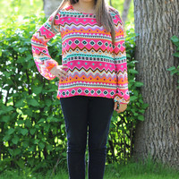 Dare To Pattern Top in Pink/Orange