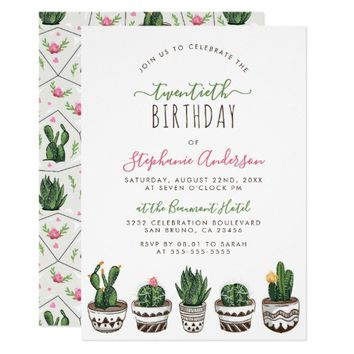 Cactus & Succulent Modern Geometric Birthday Party Card