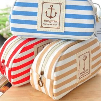 Stripe Pencil Case Pouch Purse Cosmetic Makeup Bag Storage Student Stationery Zipper Wallet,Blue:Amazon:Office Products