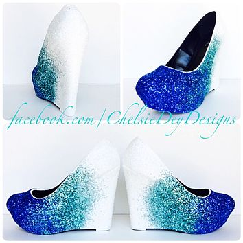 Aqua Wedge Glitter Pumps, Robins Egg Ombre Wedding High Heels, Something Blue Wedges