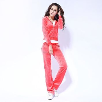 Juicy Couture Pure Color Velour Tracksuit 6047 2pcs Women Suits Red
