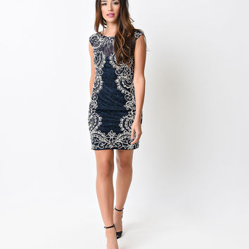 Preorder -  Navy & Gold Looped Ribbon & Lace Fitted Short Dress
