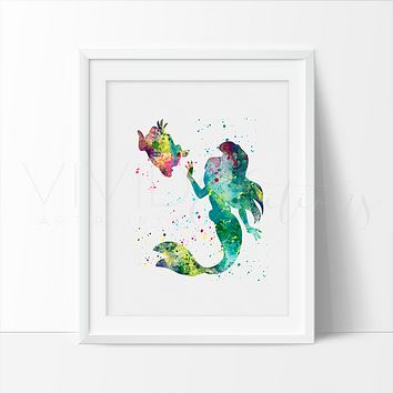 Ariel, Little Mermaid Watercolor Art Print